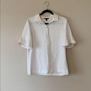 Banana Republic cream half button blouse